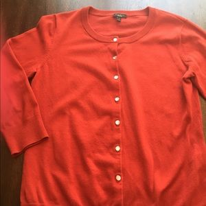 Talbots Red Button Front Cardigan